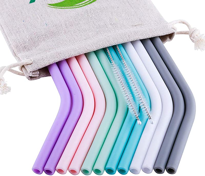 Reusable Straws Silicone Drinking Straws FDA And LFGB Approved 12 Pcs 10 Extra Long Regular Size For 30 20oz Yeti Ozark Rtic Tumblers 2Pcs Brushes 1 Linen Pouch