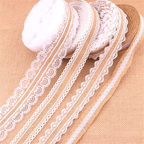 SWECOMZE 4 Stück Juteband mit Weisse Spitzen Vintage Leinwand Spitzenband für Nähen DIY Handwerk Hochzeit Party Weihnachten Deko