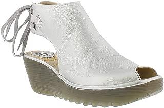Womens Fly London Yuzu Idra Leather Wedge Lace Up Back Peep Toe Sandals