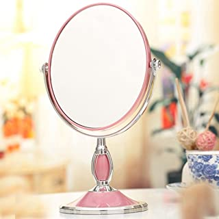 NYDZDM Desktop Makeup Mirror European Mirror Double-Sided Dressing Mirror Portable Marriage Princess Mirror 3 Times High-Definition Magnifying Table Mirror (Color : Pink)