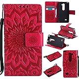 Guran® Custodia in Pelle per LG H340 Leon (4,5 Pollici) Smartphone Avere Carta Slot Supporto Protettiva Flip Case Cover-Rosso