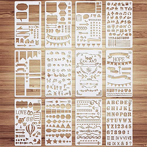 VETPW 12 Pcs Bullet Journal Stencil Schablonen Zeichnen Set, Kunststoff Wiederzuverwendend Zeichenschablonen Vorlagen Planer Schablonen für Tagebuch, Scrapbook, DIY Geschenkkarten, Fotoalbum