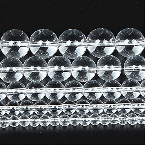 Piedra natural blanca lisa transparente encanto redondo cuentas sueltas para hacer joyas aguja pulsera DIY 15 pulgadas hebra 4-12 mm H7114 10mm aproximadamente 38pcs