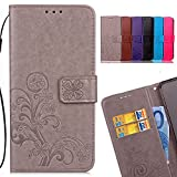LEMORRY Funda para Xiaomi Redmi Note 4X Carcasa Tapa Bolsa Piel Cuero Flip Cover Billetera Con Clips de Dinero Slim Protector Magnética Cierre TPU Silicona Estuches, Trébol de la suerte Gris
