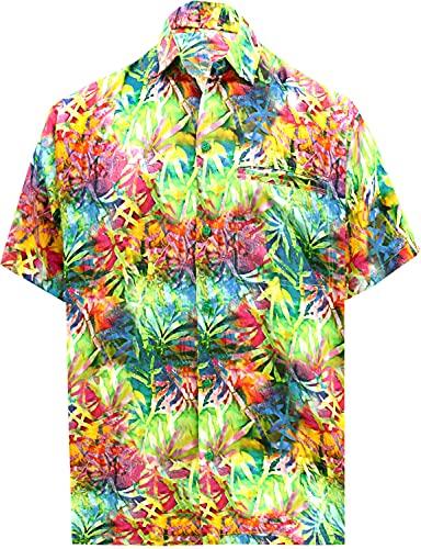 LA LEELA Casual Hawaiana Camisa para Hombre Señores Manga Corta Bolsillo Delantero Surf Palmeras Caballeros Playa Aloha XL-(in cms):121-132 Multicolor_W568