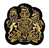 2.6' x 2.7' Gold Lace Lion Unicorn Royal Crown Crest Coat of arms DIY Applique Embroidered Sew Iron on Patch