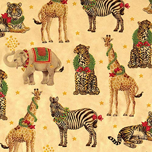 Caspari Wild Christmas Animals Wrapping Paper, 2 Rolls, Gold, 2 Count