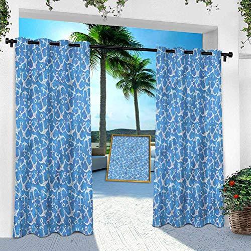 Panel de cortina al aire libre, ancla, anclaje de mar dibujado a mano, ancho 254 cm x largo 274 cm ventana tratamiento con ojales plateados, repelente al agua para interiores y exteriores (1 panel)