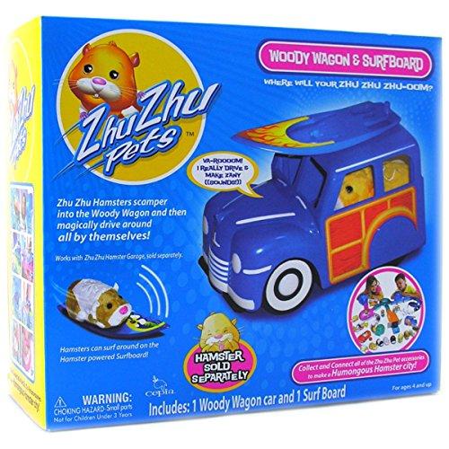 Zhu Zhu Pet Hamster Deluxe Accessories: Woody Wagon & Surfboard
