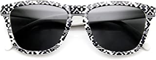Native Print Geometric Shapes Keyhole Bridge Horn Rimmed Sunglasses