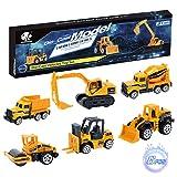 Elongdi Die-Cast Construction Toys Set, Excavator Toy Vehicles, Dump Truck Forklift Road Roller Wheel Loader...