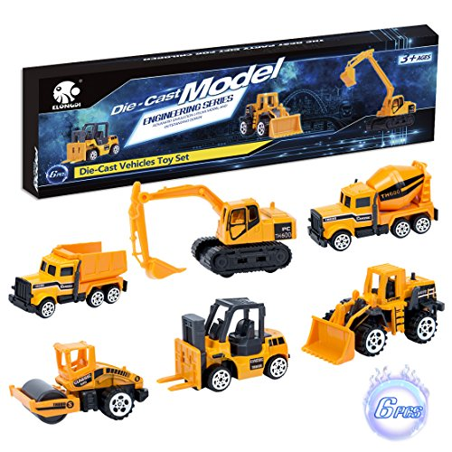 Elongdi Die-Cast Construction Toys Set, Excavator Toy Vehicles, Dump Truck Forklift Road Roller Wheel Loader Backhoe Excavator Cement Mixer, Cars Toys for 2 3 4 5 6 Years Old Kids Boys Girls