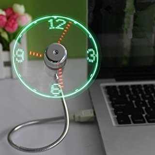 Best País De Mini portátiles USB de LED Clock Fan eléctrica ventilador de mesa Mini USB LED reloj Ventilador para Desktop & Laptop