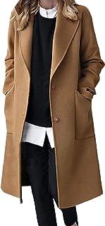 معطف SportsXX نسائي مناسب بجيب متوسط الطول مقاس عادي دافئ مصنوع من مزيج الصوف الدافئ