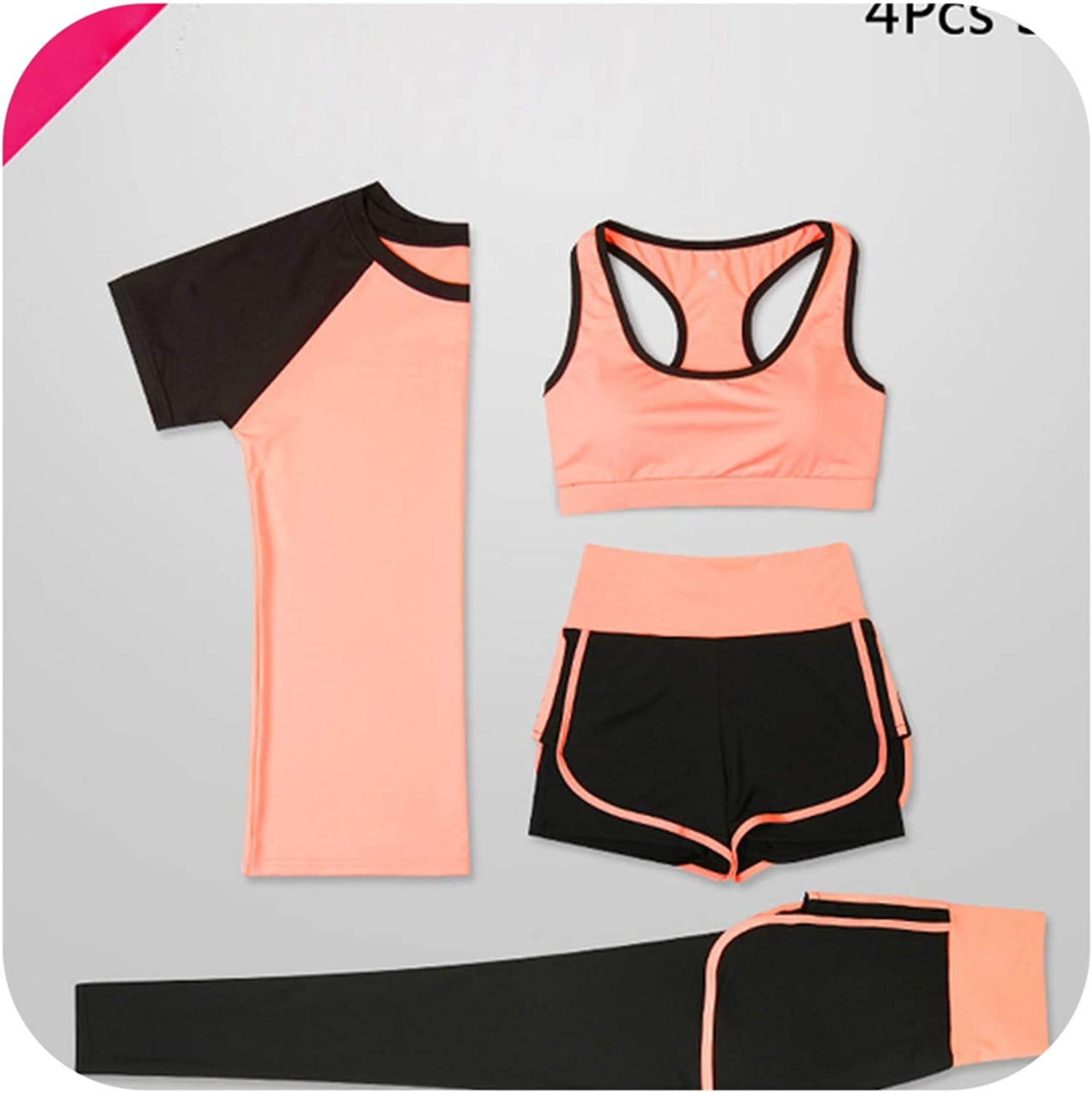 Mr Li Women 5 Piece Yoga Set for Running TShirt Fitness Bra Sports Wear Gym Clothing Women Workout Set Sports Suit