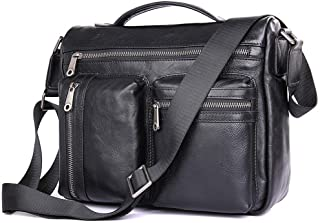 BagPrime Rustic Leather Buisness Briefcase Crossbody Briefcase Messenger Bag Black