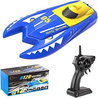 Teeggi Remote Control Boats Toys for Pools and Lakes - H128 Mini RC Boats for Kids or Adults, Self Righting High Speed Boat Toys 1/47 2.4GHz Dual Motors 15km/h Super Speed Ship Speedboat Electric