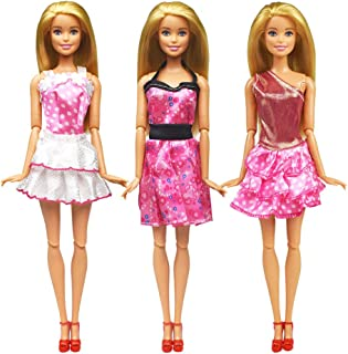 zheyistep 30 Pcs Fashion Casual Handmade Doll Clothes Sets and Accessories for 11.5 Inch Dolls Includes 10 Doll Clothes Dress+4 Glasses+6 Plastic Necklaces+10 Pairs Shoes (Doll Clothes Pack C)