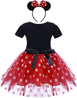 Baby Girls Polka Dots Tulle Spliced Ballet Dress with Bowknot Headband Birthday Party Princess Tutu Dress Red 12-18 Months