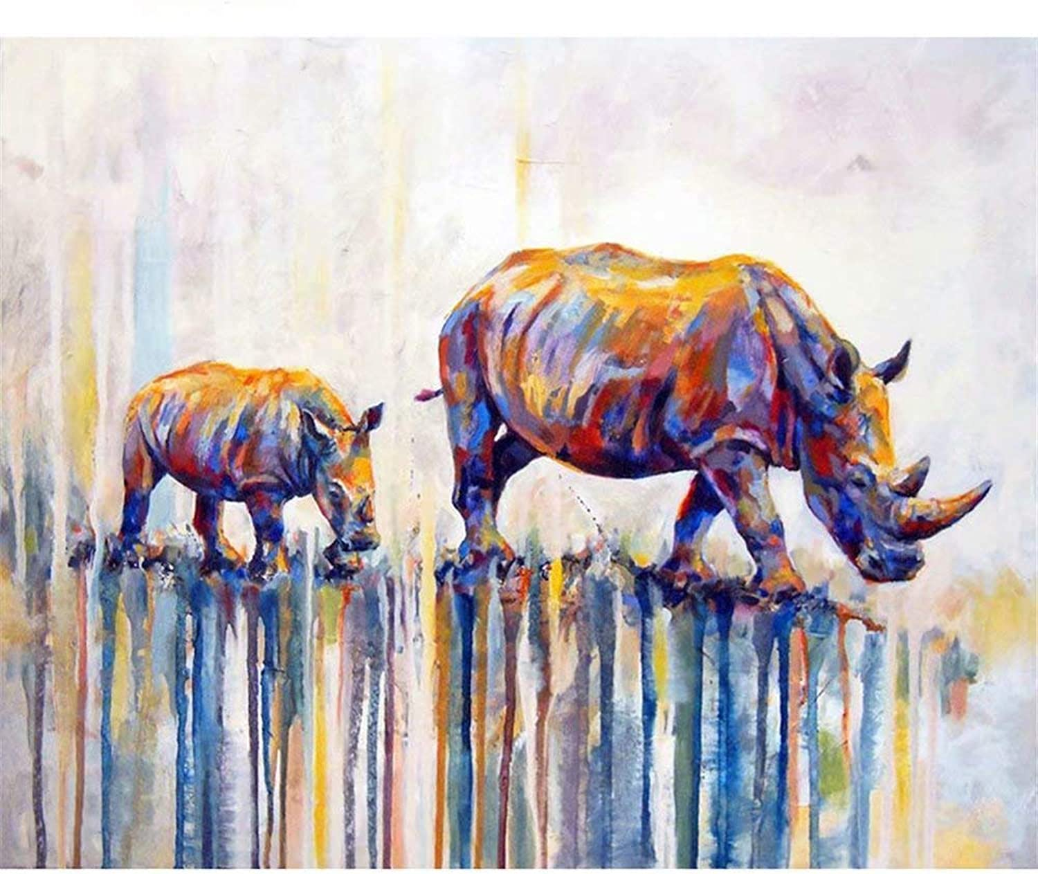DIY Oil Painting Paint by Number Kit,colord Rhinoceros,Gift 16''X20'' Inch