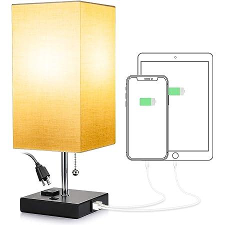 Consciot - Lámpara de mesita de noche con 2 puertos de carga USB y una toma de corriente, lámpara de computadora con cadena para recámara, habitación de invitados, oficina (bombilla no incluida)