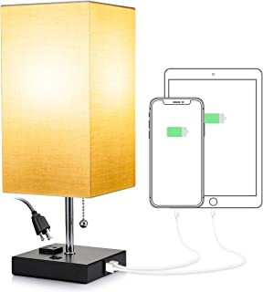 Consciot USB Bedside Table Lamp, Beige Square Fabric Shade Nightstand Lamp with 2 USB Charging Ports & One Outlet, Desk La...
