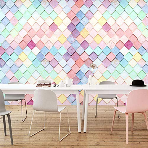 Tapete milch tee_ins geometrie mädchen rosa macaron tapete milch tee kuchen shop net rot shop dekoration wand 3d mural tapete wohnzimmer schlafzimmer Wandbild Tapete Fototapete Wandbilder-400cm×280cm