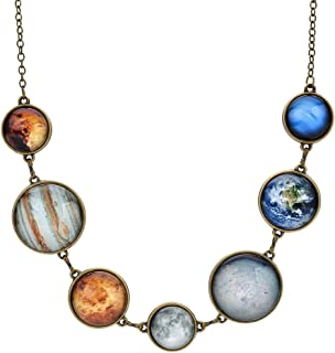 7 Planet Necklace Sun Moon Galaxy Space Necklace Dangle Planets Solar System Charm Necklace for Women