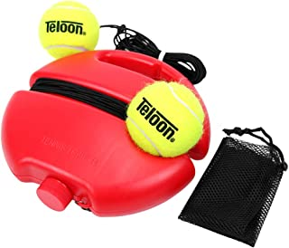 Teloon Solo Tennis Trainer Rebound Ball with String for Self Tennis Practice Training Tool for Adults or Kids Beginners with 2 String Balls Elastic and a Portable Mesh Bag