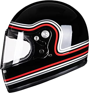 VCOROS A600 Unisex-Adult Full Face Retro Motorcycle Helmet with Graphic Fiberglass Shell DOT Touring Bobber