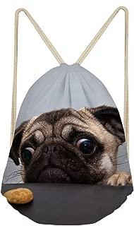 Cute Pug Drawstring Bag Cinch Dog String Backpack Lightweight Shoulder Sackpack for Kids, Girls, Boys, Men & Women