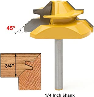 Meihejia 1/4 Inch Shank 45 Degree Lock Miter Router Bit 3/4 Inch Stock Joint Router Bit