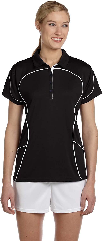 Russell Athletic Womens Team Prestige Polo (434CFX) -BLACK/WHIT -XL