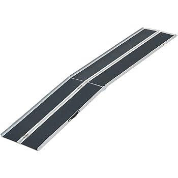 HOMCOM Lightweight Aluminum Portable Skidproof PVC Carpeted Folding Wheelchair Ramp, 10'