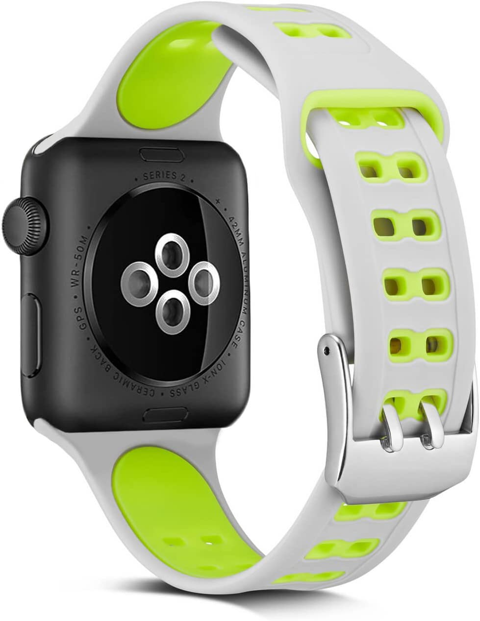Apple Watch Sport Band Compatible iWatch 42mm, Soft Silicone Strap with Stainless Steel Buckle with Double Needle Replacement Compatible Apple Watch Sport/Series 3/2/1- Black 42MM
