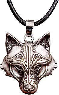 """HAQUIL Viking Jewelry Alloy Wolf Necklace with Leather Cord for Men and Women, 19.8"""""""