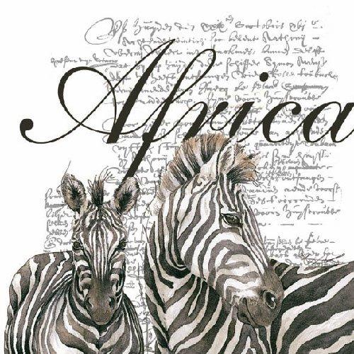 Ambiente - Luxury Paper Products African Zebra (Bianco) tovaglioli–33x 33cm