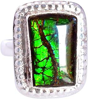 Ravishing Impressions Jewellery Fabuloso anillo de plata de ley 925 con amolita, joyería hecha a mano, para mujer FSJ-5221