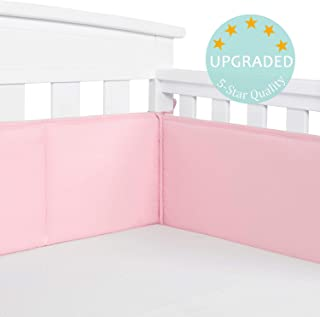 TILLYOU Baby Safe Crib Bumper Pads for Standard Cribs Machine Washable Padded Crib Liner Thick Padding for Nursery Bed 100% Silky Soft Microfiber Polyester Protector de Cuna, 4 Piece/Jade Pink