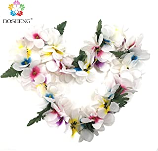 BOSHENG Hawaiian Plumeria Flower Leis Necklaces for Party Event,Christmas Decoration