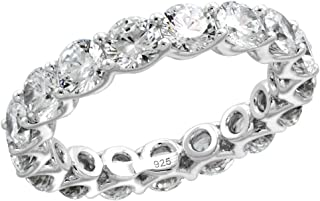 Sterling Silver 4mm Round CZ Eternity Band for Women U-Prong Setting 3/16 inch Wide Size 6-9
