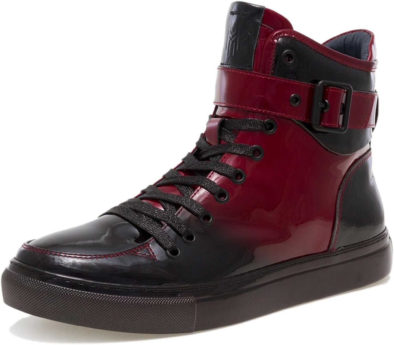 JUMP NEWYORK Men's Sullivan High Top Sneaker Burgundy Gradient Patent 7 D US Men
