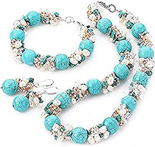 TreasureBay Fab Chunky Freshwater Pearl, Crystal Beads And Turquoise Gemstone Matching Necklace, Bracelet And Earrings Set