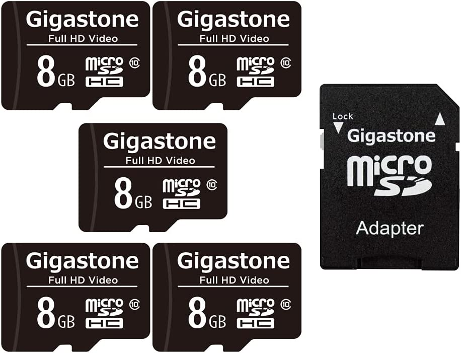 Gigastone 8GB 5-Pack Micro SD Card, Full HD Video, Surveillance Security Cam Action Camera Drone, 80MB/s Micro SDHC Class 10