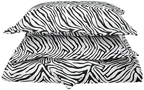 1800 Series 100% Brushed Microfiber, Deep Pocket, Wrinkle Resistant 2-Piece Twin/Twin XL Duvet Cover Set, Animal Print, Zebra