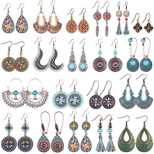 Duufin 15 Pares Pendientes Bohemios Vintage Pendientes Boho Earrings para Mujer, 15 Estilos