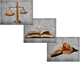 HOMEOART Scales of Justice Lawyer Office Decor Picture Prints on Canvas Law Themed Painting Stretched Framed Artwork Easy to Hang 24