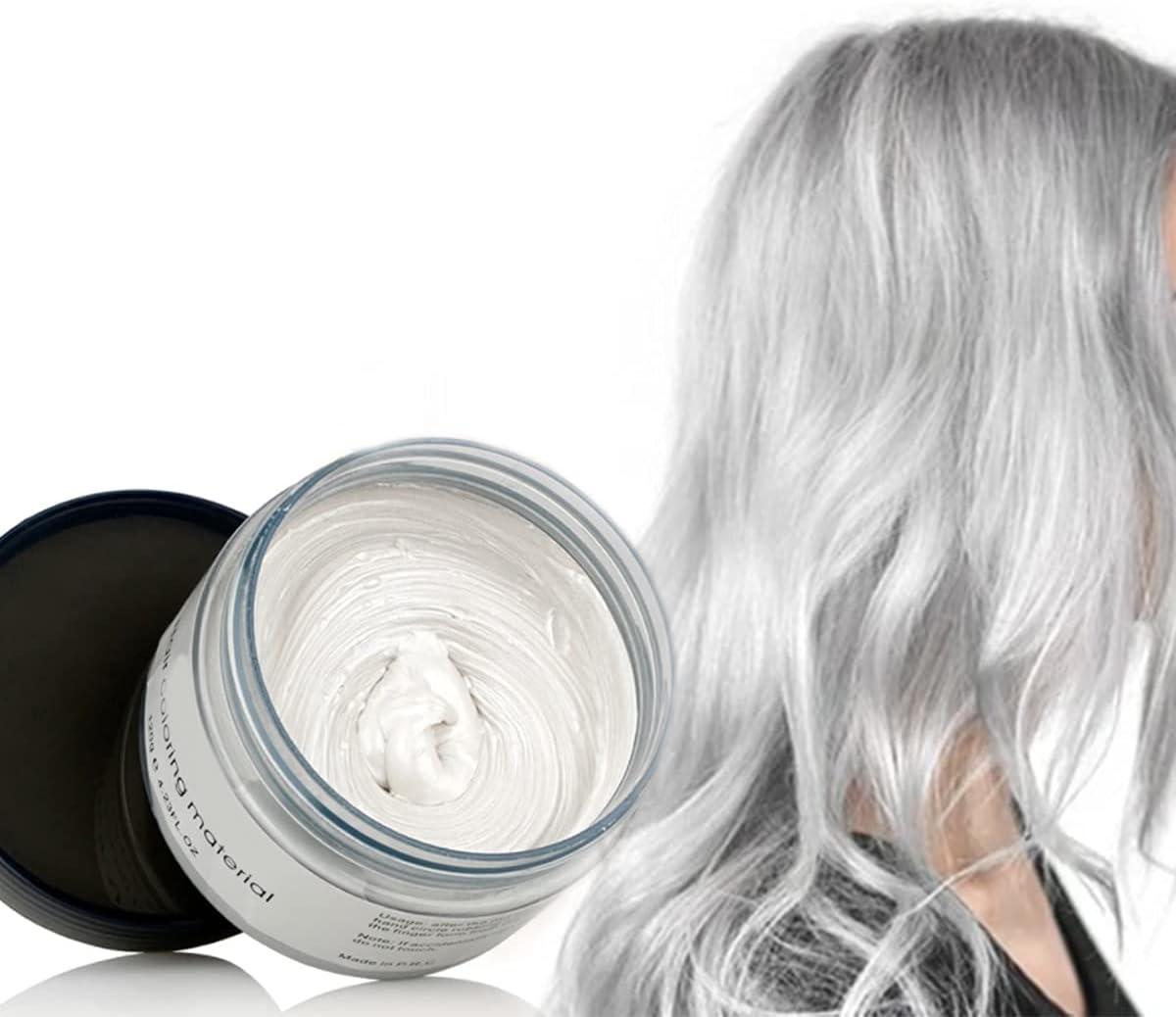Color Cabello Cera Tinte Instantáneo para Cabello Lodo Cabello Desechable Crema para Peinado Natural Modelado Temporal Pomada Arcilla Blanco