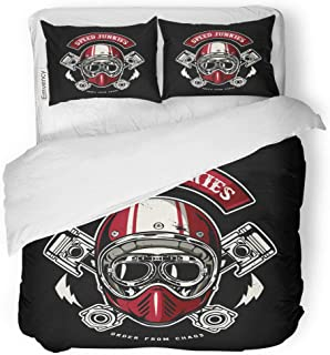 Semtomn Decor Duvet Cover Set Full/Queen Size Motorcycle Skull of Biker in is Easy to Remove 3 Piece Brushed Microfiber Fabric Print Bedding Set Cover