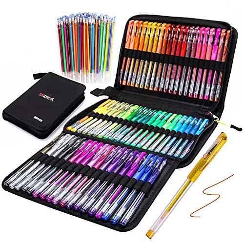 Gel Pens for Adult Coloring Books, Glitter Neon Gel Pens Set Include 60 Colors Gel Marker Pens, 60 Matching Color Refills, for Kids Drawing Gift Card Art Crafts Doodling Scrapbooks Journaling